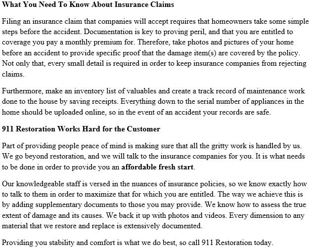 911 Restoration Philadelphia's Insurance Policy