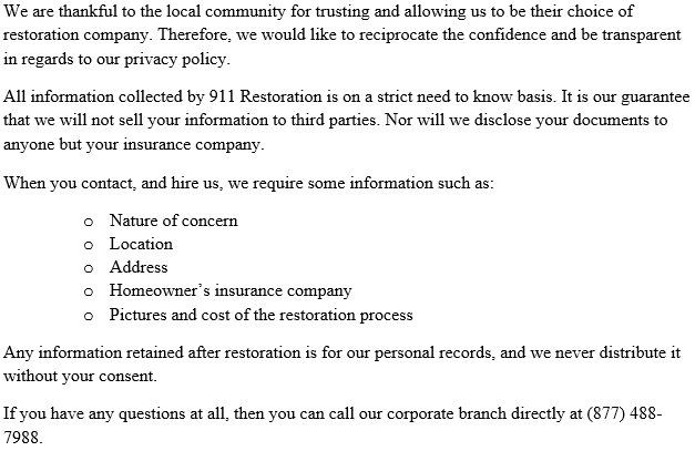 911 Restoration Philadelphia's Privacy Policy